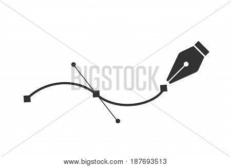 Pen tool. Vector computer graphics. The curve control points. Black path