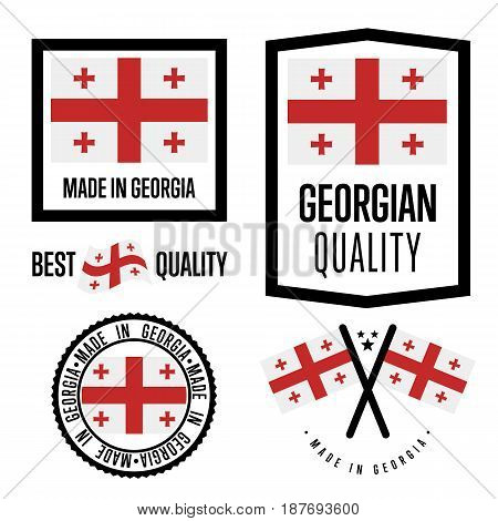 Georgia quality isolated label set for goods. Exporting stamp with georgian flag, nation manufacturer certificate element, country product vector emblem. Made in Georgia badge collection.