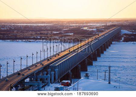 Bridge over Amur river in Khabarovsk Russia