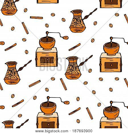 Seamless vector pattern with coffee beans, cinnamon, turka and coffee mill. Handdrawn doodle illustration.