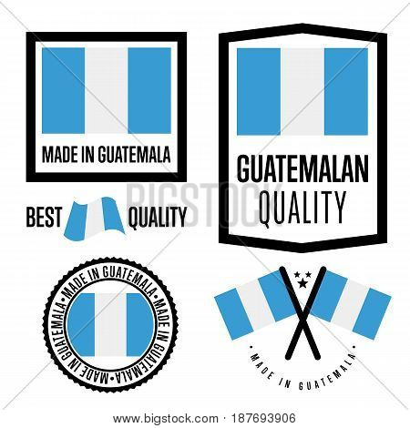Guatemala quality isolated label set for goods. Exporting stamp with guatemalan flag, nation manufacturer certificate element, country product vector emblem. Made in Guatemala badge collection.