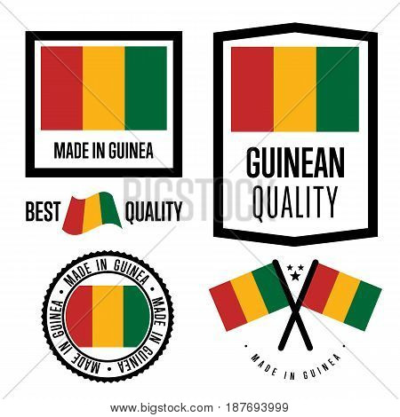 Guinea quality isolated label set for goods. Exporting stamp with guinean flag, nation manufacturer certificate element, country product vector emblem. Made in Guinea badge collection.
