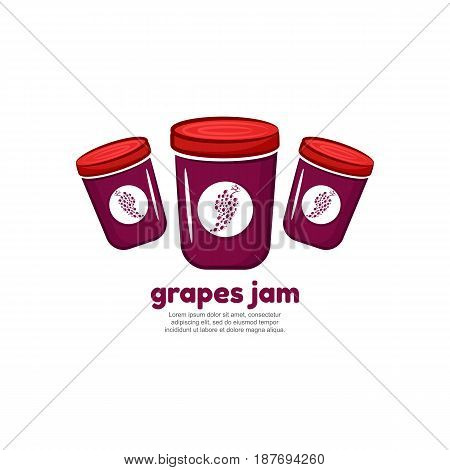 Template logo for grapes jam. Bank of delicious jam