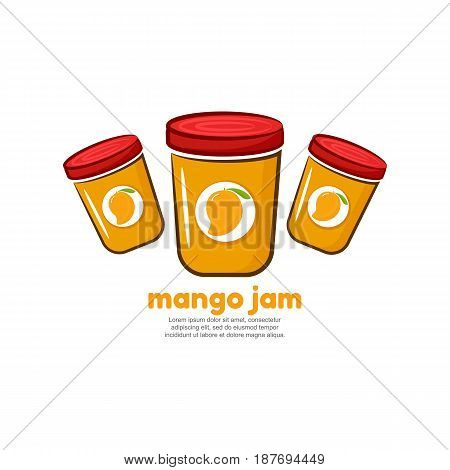 Template logo for mango jam. Bank of delicious jam