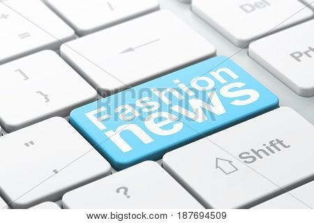 News concept: computer keyboard with word Fashion News, selected focus on enter button background, 3D rendering