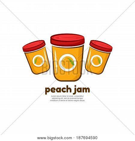 Template logo for peach jam. Bank of delicious jam