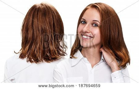 Hair before and after treatment. Young woman happy after hair treatment.
