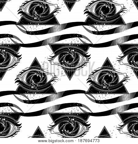 Graphic eye with black hole and starry vortex inside. Sacred geometry. Abstract astornomy illustration with triangular design. Tattoo or t-shirt art