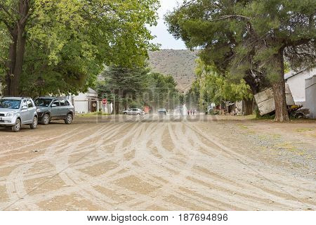 NIEU BETHESDA SOUTH AFRICA - MARCH 21 2017: A street scene in Nieu-Bethesda an historic village in the Eastern Cape Province