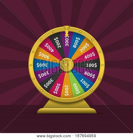 Wheel of fortune. Colorful wheel of luck with golden frame and arrow