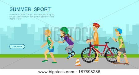 Summer sport banner. People in sports uniforms riding a bike, roller skating, skateboarding and running on background of urban landscape. Summer vacation, leisure activities. Website template in flat