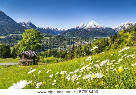 Beautiful Mountain Landscape In The Bavarian Alps With Village Of Berchtesgaden And Watzmann Massif