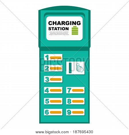 Vector illustration of phone charging station, isolated on a white background.