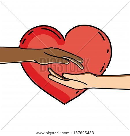 hands together with heart to celebrate freedom, vector illustration