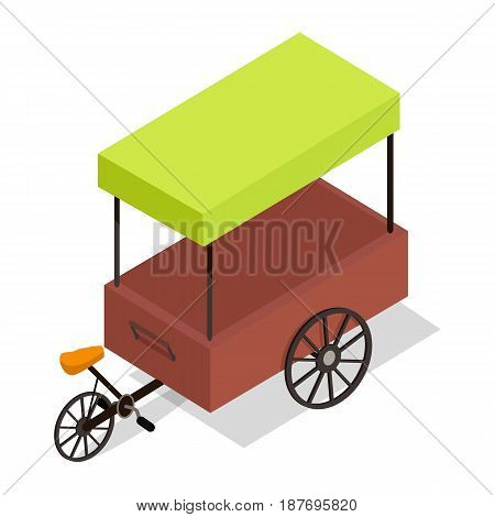 Street cart store isometric icon. Pedal-powered trolley with stall and colorful tent vector isolated on white. Movable shop on wheels illustration for mobile eatery, fast food cafe, souvenir shop ad