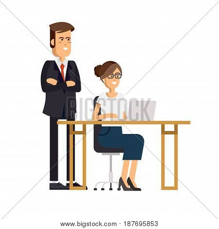 Cool vector flat character design on office business woman working in office behind her desk with desktop computer and the chief watching workflow
