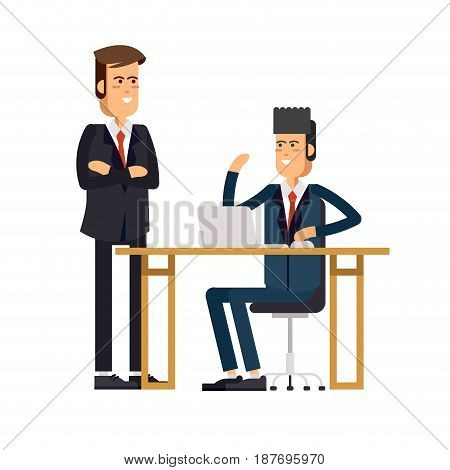 Cool vector flat character design on office business man working in office behind desk with desktop computer and the chief watching workflow