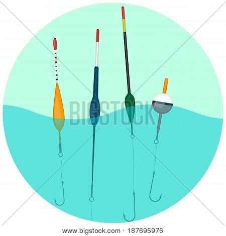 Set of colorful bobbers swimming in the water in round web button. Small floats placed on fishing line to hold the hook at the desired depth
