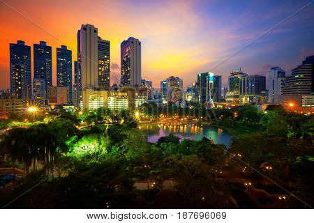 Penjasiri Park at twilight Bangkok city Thailand