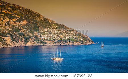 Amalfi Coast At Sunset, Campania, Italy