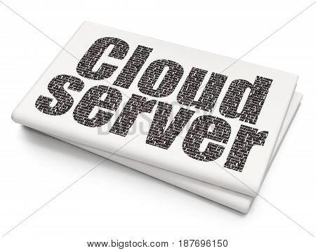 Cloud technology concept: Pixelated black text Cloud Server on Blank Newspaper background, 3D rendering