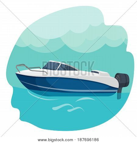 High speed motor boat sailing in sea vector illustration isolated on blue. Sailboat navigate in sea. Traveling by water concept. Modern yacht realistic design