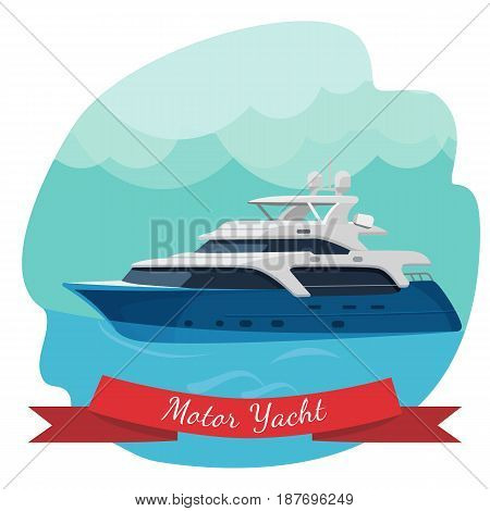 Luxury two-deck motor yacht sailing in ocean vector illustration isolated on blue. Traveling by water concept. Modern motorboat realistic design