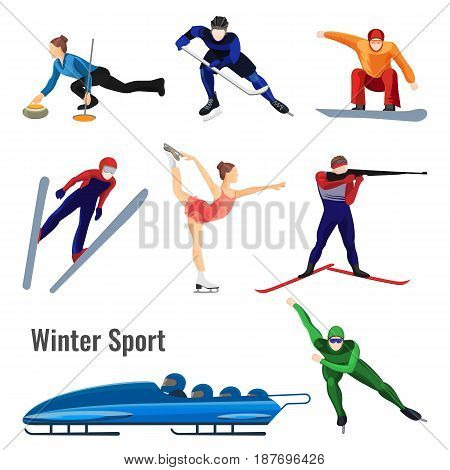 Set of winter sport activities vector illustration isolated on white. People skating, play hockey, shot from biathlon gun, bobsledding and skiing