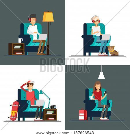 Set of young adult man and woman working at home vector concept illustration. Freelancer character working from home with laptop sitting in cozy armchair with a cup of hot tea or coffee. Home office. Remote work