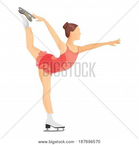 Figure skater girl in short red dress skating vector illustration isolated on white background. Professional woman skates in sexy uniform