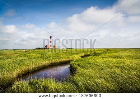 Beautiful Landscape With Lighthouse At North Sea In Nordfriesland, Schleswig-holstein, Germany