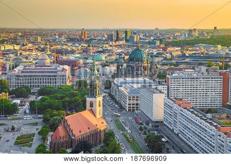 Aerial View Of Berlin With Marienkirche And Berlin Cathedral At Sunset, Germany