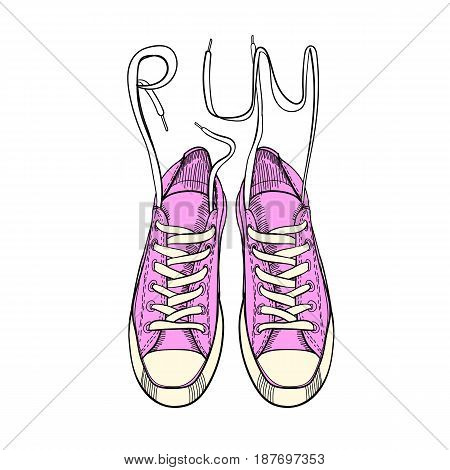 Vector illustration of hand drawn graphic sport shoes, sneakers, trainers for run on white background. Doodle Design isolated object. Footwear for tennis.