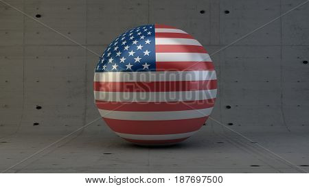 United States of America flag sphere icon isolated in concrete room 3d render