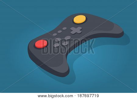 Wireless joystick or video game controller icon in cartoon style. Wireless black gamepad with red and yellow button, button plus. Vector illustration in flat design with shadow on blue background.