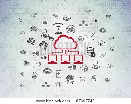 Cloud technology concept: Painted red Cloud Network icon on Digital Data Paper background with  Hand Drawn Cloud Technology Icons