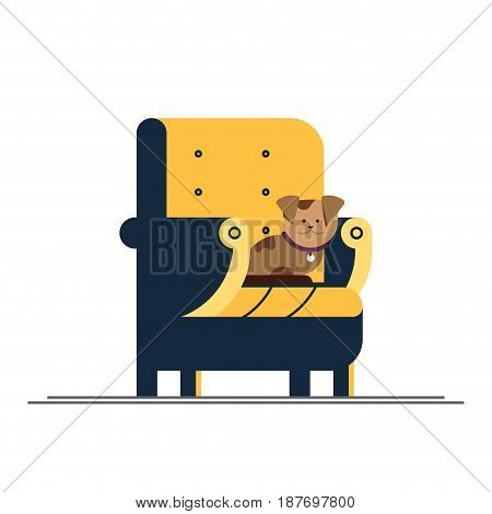 Flat illustration pet sitting in chair. Happy dog life. Cute puppy.