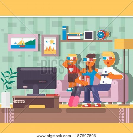 Family watching television together in house. Flat vector illustration
