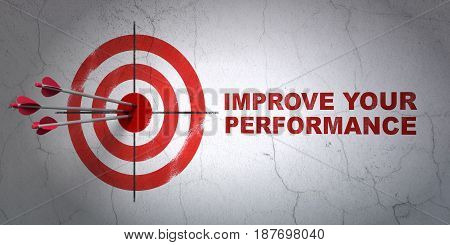 Success Learning concept: arrows hitting the center of target, Red Improve Your Performance on wall background, 3D rendering