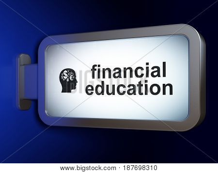 Studying concept: Financial Education and Head With Finance Symbol on advertising billboard background, 3D rendering