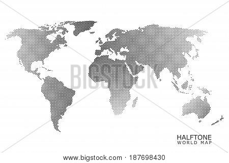 Halftone dotted vector world map in black color with white background