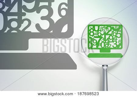 Education concept: magnifying optical glass with Computer Pc icon on digital background, empty copyspace for card, text, advertising, 3D rendering