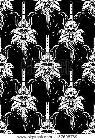 Graphic skull in traditional samurai helmet pierced with a sword. Vector seamless pattern