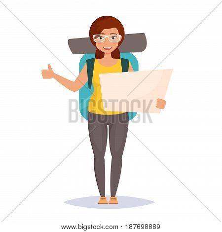 Hitchhiking. Woman traveler with backpack. Isolated art on white background. Vector. Cartoon. Flat