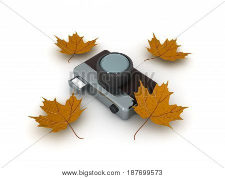3D illustration of retro vintage photo camera with yellow autumn leaves around. It's a more artistic image.