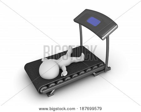 3D Character exhausted from working out on treadmill. Image depicting a fitness gym scenario.