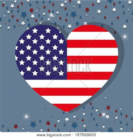 independence day wiith heart emblem and flag, vector illustration
