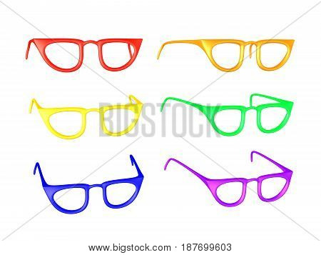 3D illustration of multiple colored eye glasses. Different variation of the same object.