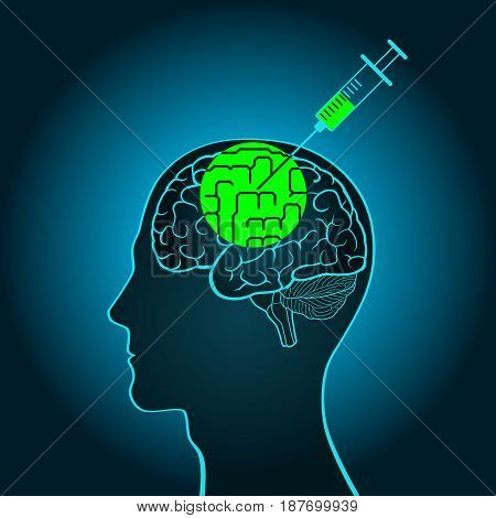 A syringe injection into the brain of a truth serum straightening out curves, brainwashing, flashing, Introducing new information replacement adjustment memory