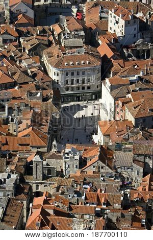Split (city in Croatia) aerial view of old part of town and Peoples square